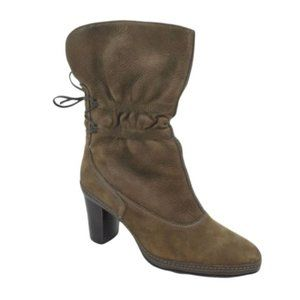 Clarks Tralee Brown Leather Lace Up Heeled Boots